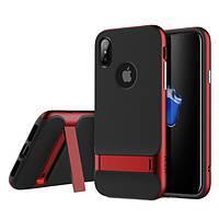 """TPU+PC чехол Rock Royce Series с функцией подставки для Apple iPhone X (5.8"""") Черный / Красный"""