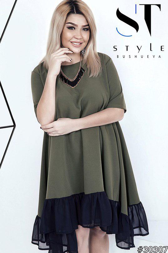 Платье больших размеров 46+ расклешенное, в стиле  Oversize  / 4 цвета арт 4497-121