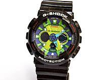 Наручные часы  GA-200 черные с салатовым