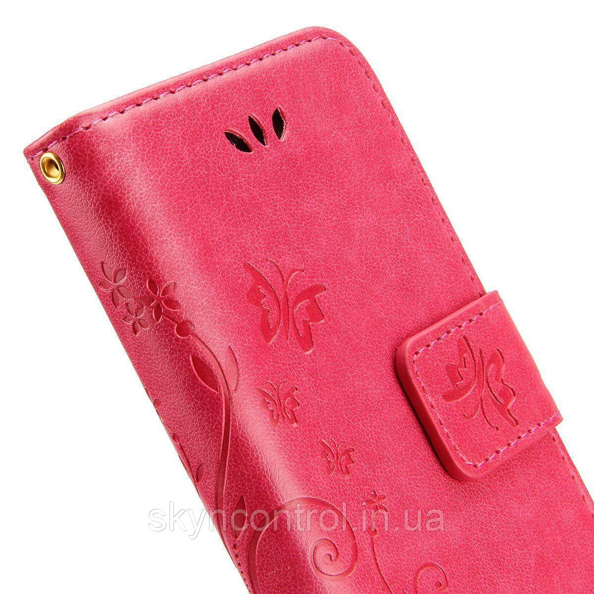 Кожаный чехол для iPhone 6/6s Korecase iPhone 6/6S Case Leather Flip Cover Butterfly & Flower Pattern pink