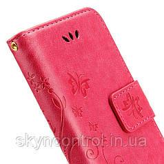 Шкіряний чохол для iPhone 6/6s Korecase iPhone 6/6S Leather Flip Case Cover Butterfly & Flower Pattern pink