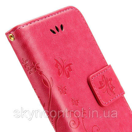 Кожаный чехол для iPhone 6/6s Korecase iPhone 6/6S Case Leather Flip Cover Butterfly & Flower Pattern pink, фото 2