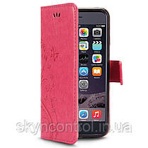 Кожаный чехол для iPhone 6/6s Korecase iPhone 6/6S Case Leather Flip Cover Butterfly & Flower Pattern pink, фото 3