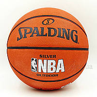 Мяч баскетбольный резиновый №7 SPALDING 83016Z NBA SILVER Outdoor, фото 1