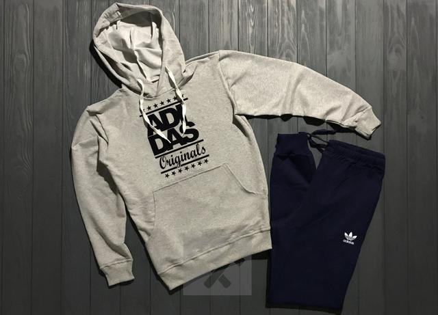 Спортивный костюм Adidas Originals серый верх синий низ