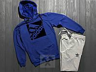 Спортивный костюм с капюшоном Adidas серый верх синий низ с черным логотипом, фото 1