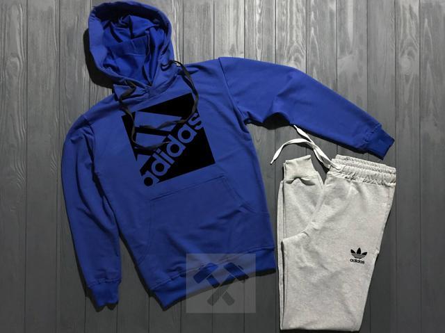 Спортивный костюм Adidas серый верх синий низ с черным логотипом