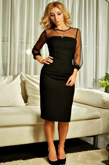 """Приталенное  женское платье """" Лара """" чёрного цвета"""