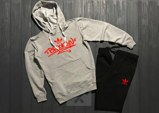 Спортивный костюм Adidas Brooclyn серый верх черный низ с красным логотипом