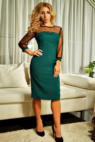 """Приталенное  женское платье """" Лара """" изумрудного цвета , фото 2"""
