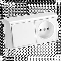 Горизонтальный блок Белый выключатель + розетка Vera Viko, 90681186