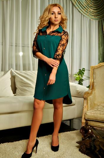 """Платье-рубашка """"Касандра"""" изумрудного цвета"""