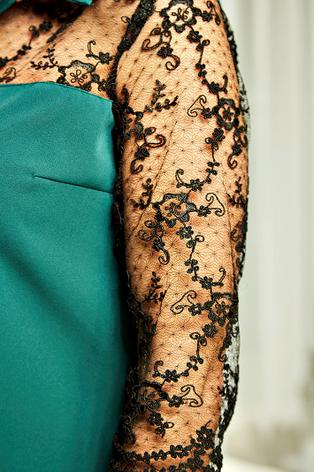 """Платье-рубашка """"Касандра"""" изумрудного цвета , фото 2"""