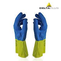 Защитные перчатки латексные Delta Plus Duocolor 330 с хлопковым напылением Сине-желтые