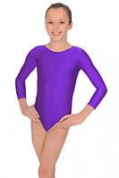 Детский купальник для гимнастики и танцев бифлекс  Фиолетовый рост от 98 до 158 см