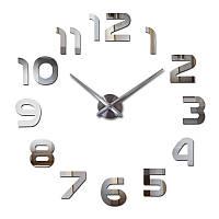 Большие настенные 3Д часы 3D DIY Clock 70-150см 002S (Арабские цифры) Серебро