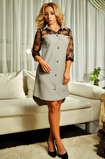 """Платье-рубашка """"Касандра"""" серого цвета в большом размере"""