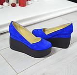 Замшевые женские туфли на гладкой платформе (разные цвета), фото 3