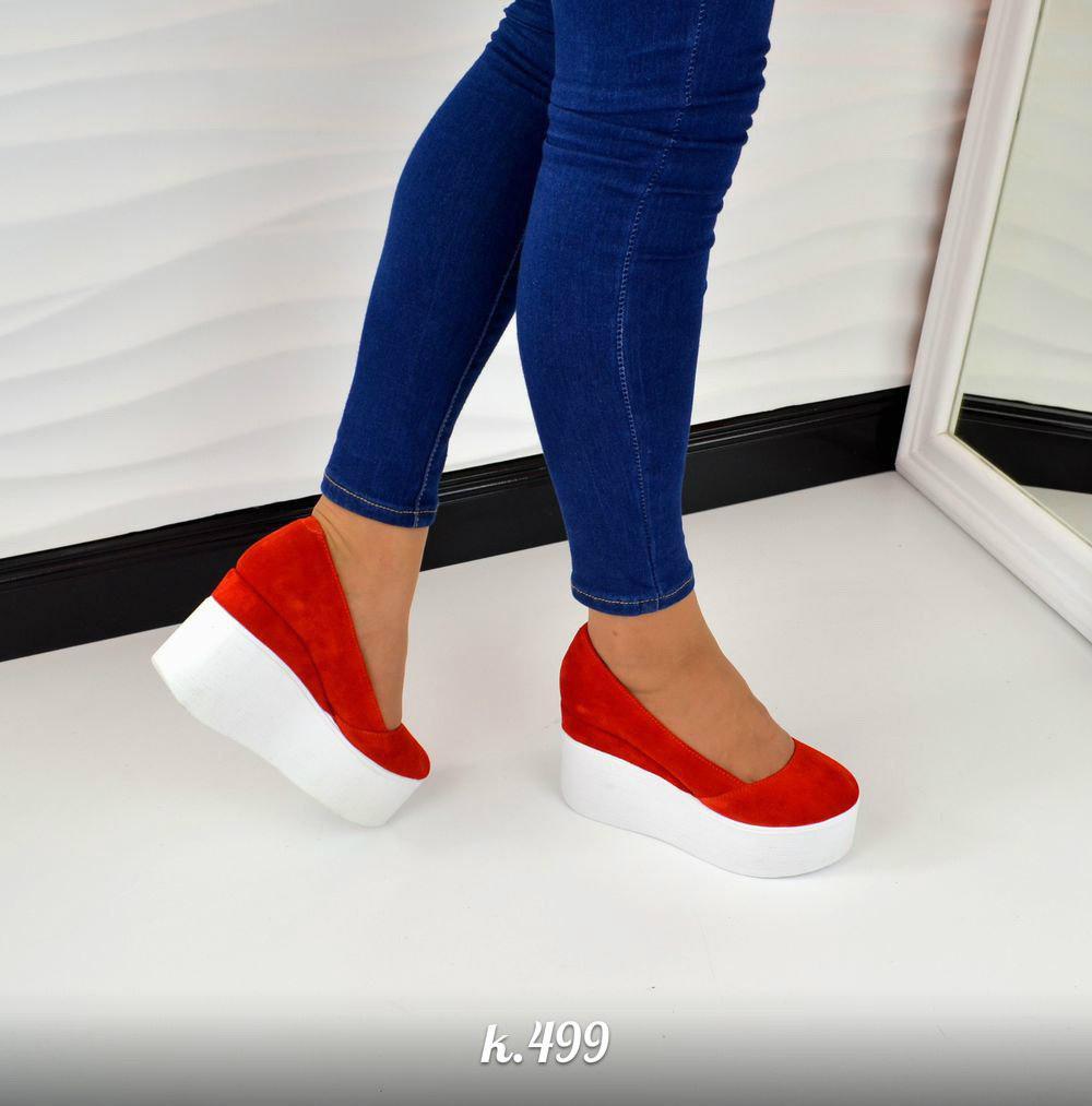 Замшевые женские туфли на гладкой платформе (разные цвета)