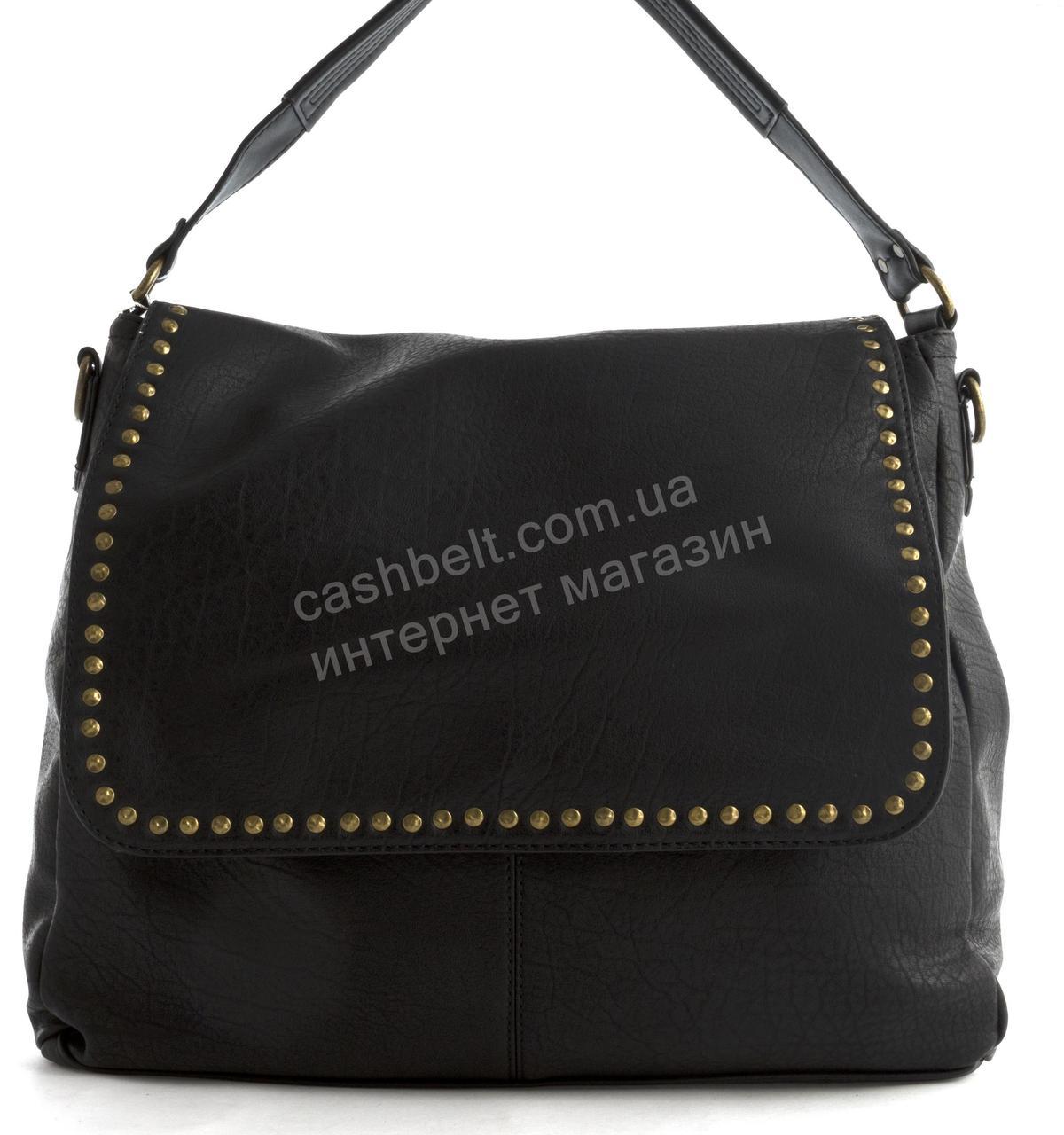 Вместительная прочная модная сумка из эко кожи высокого качества Suliya art. 3600 черная