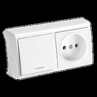 Горизонтальный блок Белый выключатель с подсветкой + розетка Vera Viko, 90681190