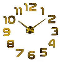 Большие бескаркасные настенные 3D часы 002G (Арабские цифры Золото)