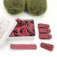 Кожаные бирки Handmade With Love, цвет лиловый
