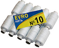 """Нитки швейные EVRO №10 """"Особо прочные (10 катушек) белые, полиэстер, фото 1"""