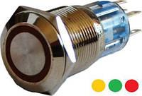 Кнопка металлическая плашка с подсветкой 1NO+1NC красная TY 19-271