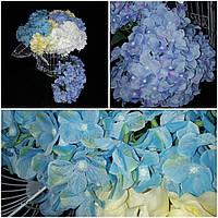 Искусственная гортензия, цвета - сиреневый и голубой, 6 веточек, выс. 44 см., 145/125 (цена за 1 шт. + 20 гр.)
