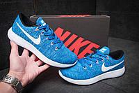 Мужские кроссовки Найк Lunarepic Flyknit текстиль синие