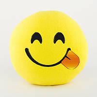 Подушка Смайл Игривая улыбка желтый флок/ подушка сувенирная подарочная