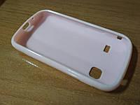 Чехол накладка Samsung S5660 Galaxy Gio бампер панель силиконовая розовый