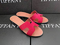 Женские кожаные замшевые шлепки TIFFANY на каблуке низком ходу аналог HERMES