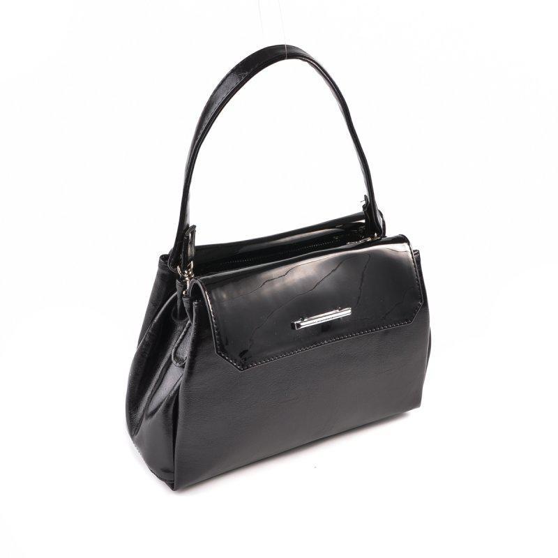 14772c56c6a6 Маленькая женская сумка М126-27/лак черная глянцевая с лаковыми вставками -  Интернет магазин