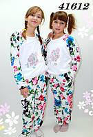 Махровая пижама подростковая со стразами на рост 145,155,165
