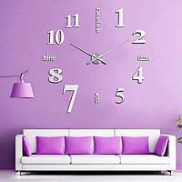 Большие бескаркасные настенные 3D часы 001S (Слова серебро), фото 1