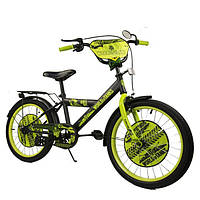 Велосипед детский 20 дюймов World of Tank, черно-салатовый