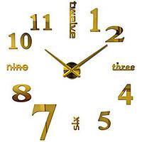 Большие настенные 3Д часы Большие 3D DIY Clock часы 70-150см Слова Золото 001G