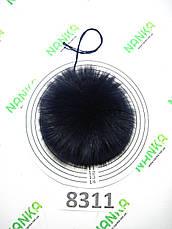 Меховой помпон Песец, Т. Синий, 10 см, 8311, фото 2
