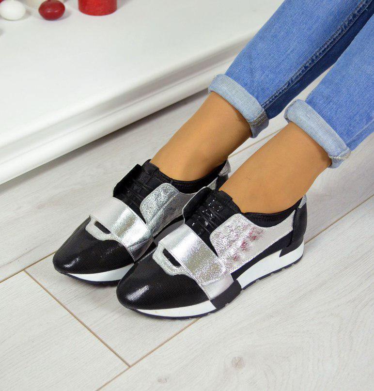 Дерзкие женские кожаные кроссовки F-Light (серебро)