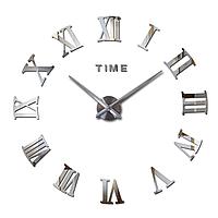 Большие настенные часы 3Д 3D DIY Clock часы70-150см 003S (Римские цифры Серебро)