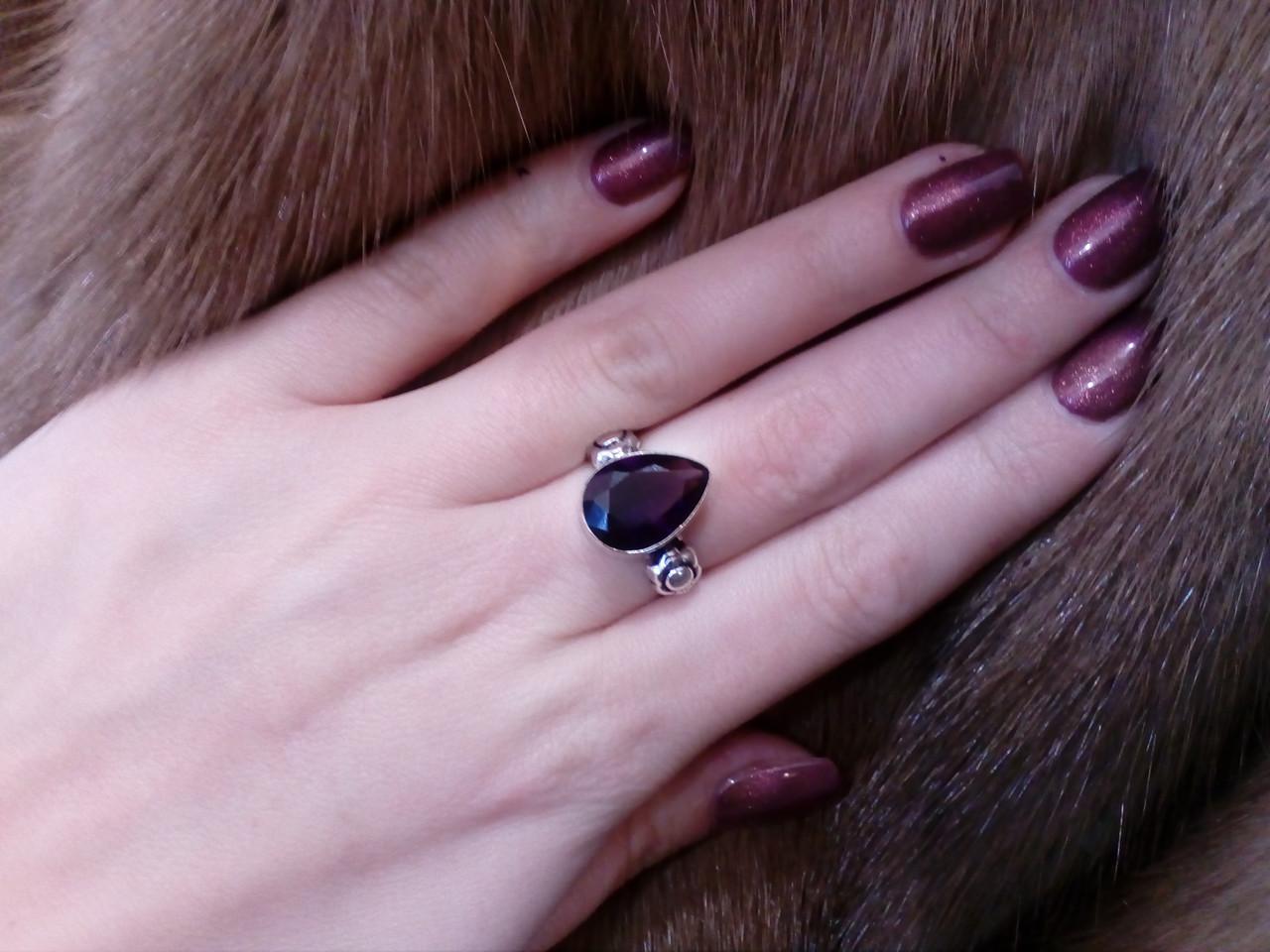 Кольцо с камнем аметист в серебре. Кольцо с аметистом. Размер 16,5-17. Индия!