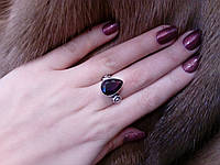 Кольцо с камнем аметист в серебре. Кольцо с аметистом. Размер 16,5-17. Индия!, фото 1