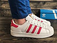 Женские кроссовки Adidas Superstar бело-красные