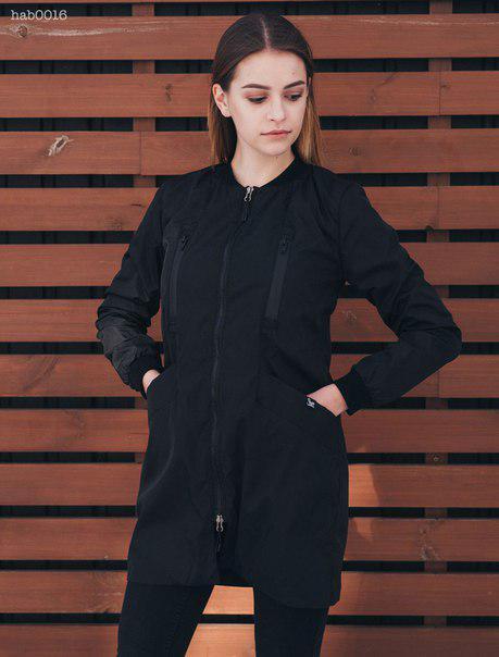 Женская куртка длинная весенняя Staff long black 400850c516367