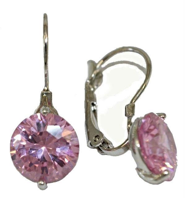 Сережки з Swarovski. Колір металу: срібний.Висота сережки: 2,5 см. Діаметр кристала:10 мм. Колір:рожевий.
