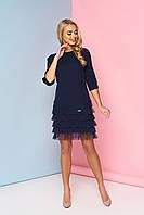 Женское нарядное платье с рюшами, тёмно-синее, креп костюмный, размеры от 44 до 48