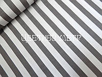 Хлопковая ткань (сатин) серая полоска 15 мм