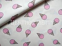 Хлопковая ткань (сатин) мороженки розовые на белом